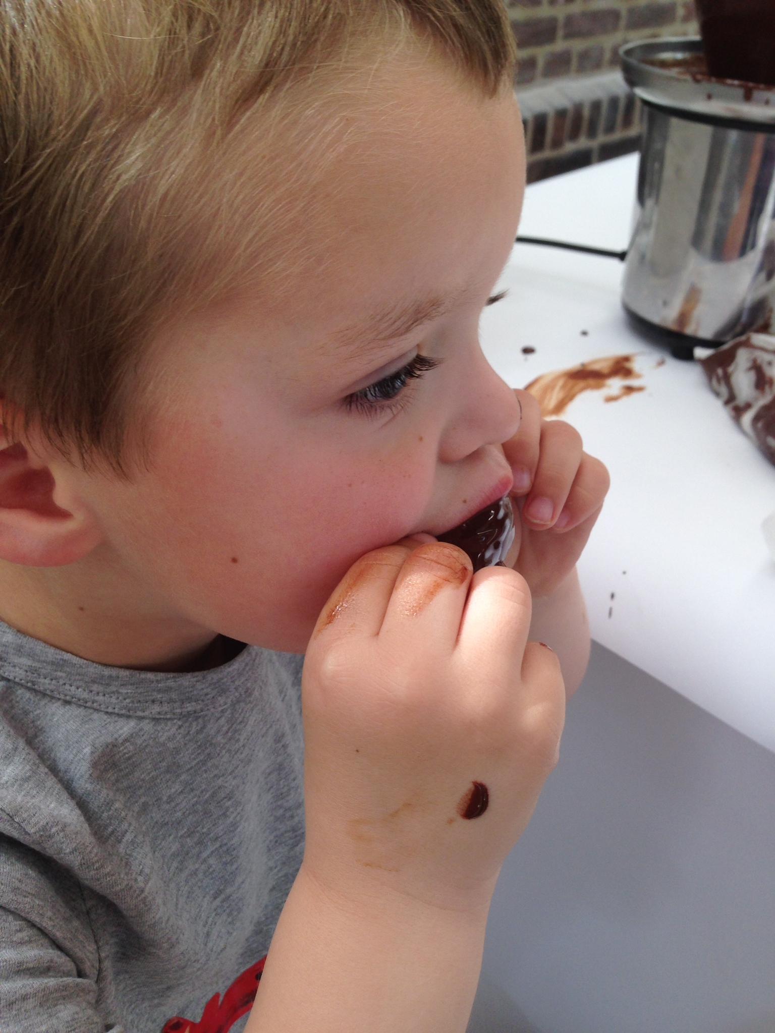Gegarandeerd geklieder: aardbeien en chocoladefontein