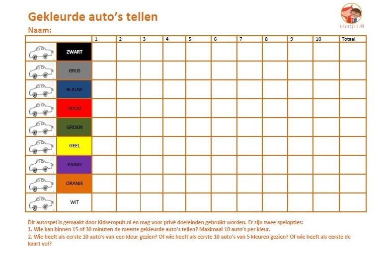 Tellen, tellen en tellen: auto's in alle kleuren van de regenboog. Een makkelijk spel voor onderweg in de auto.