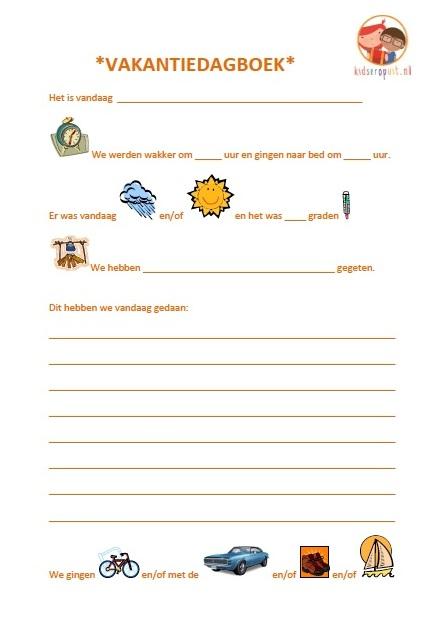 Eerste bladzijde vakantiedagboek voor kinderen
