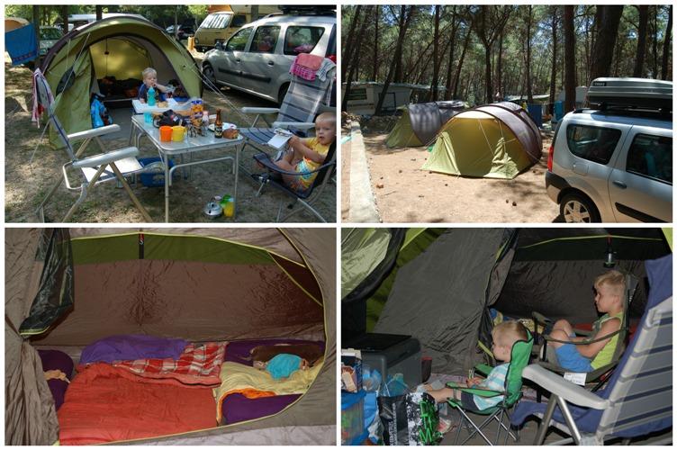 Twee pop up tenten voor voldoende ruimte.