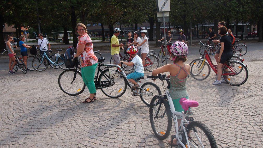 De eerste poging om te gaan fietsen in Stockholm.