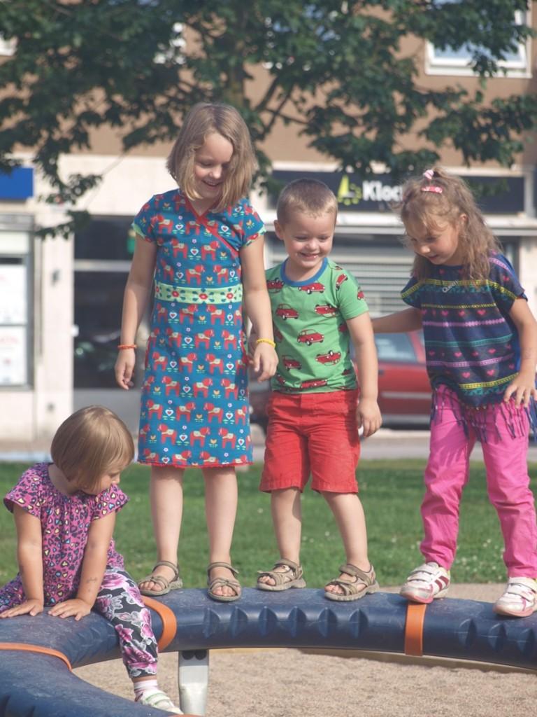 Nog even spelen in het park voordat de parkeergarage dicht gaat.