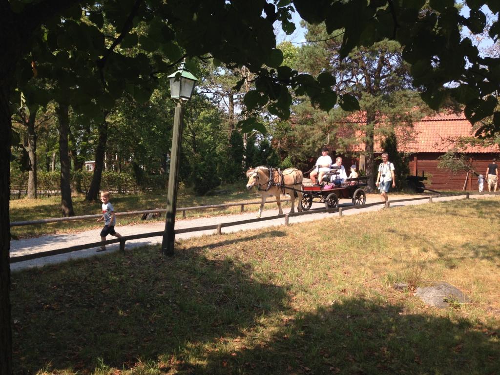 Soms waan je je in Skansen terug in de tijd, vooral als er een paard met wagen langs rijdt.