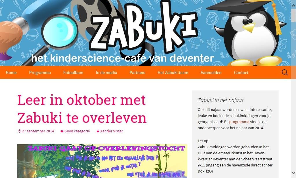 Zabuki: wetenschap voor kinderen in Deventer, Enschede en Zeist.