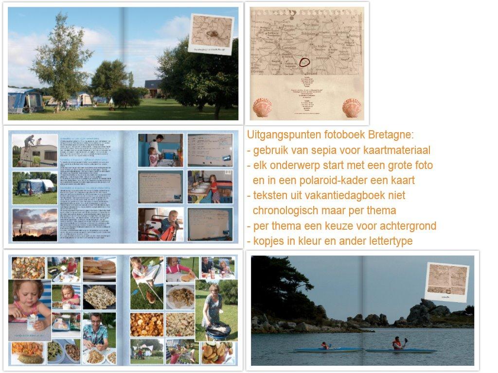 Fotoboek Bretagne: een afwisseling van pagina's met grote foto's en met veel foto's.