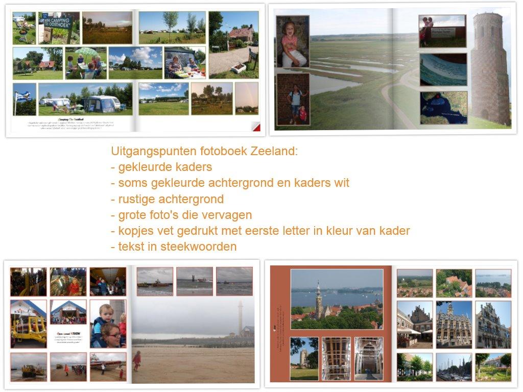 Fotoboek Zeeland: een paar voorbeeldpagina's en de uitgangspunten voor de lay outs.