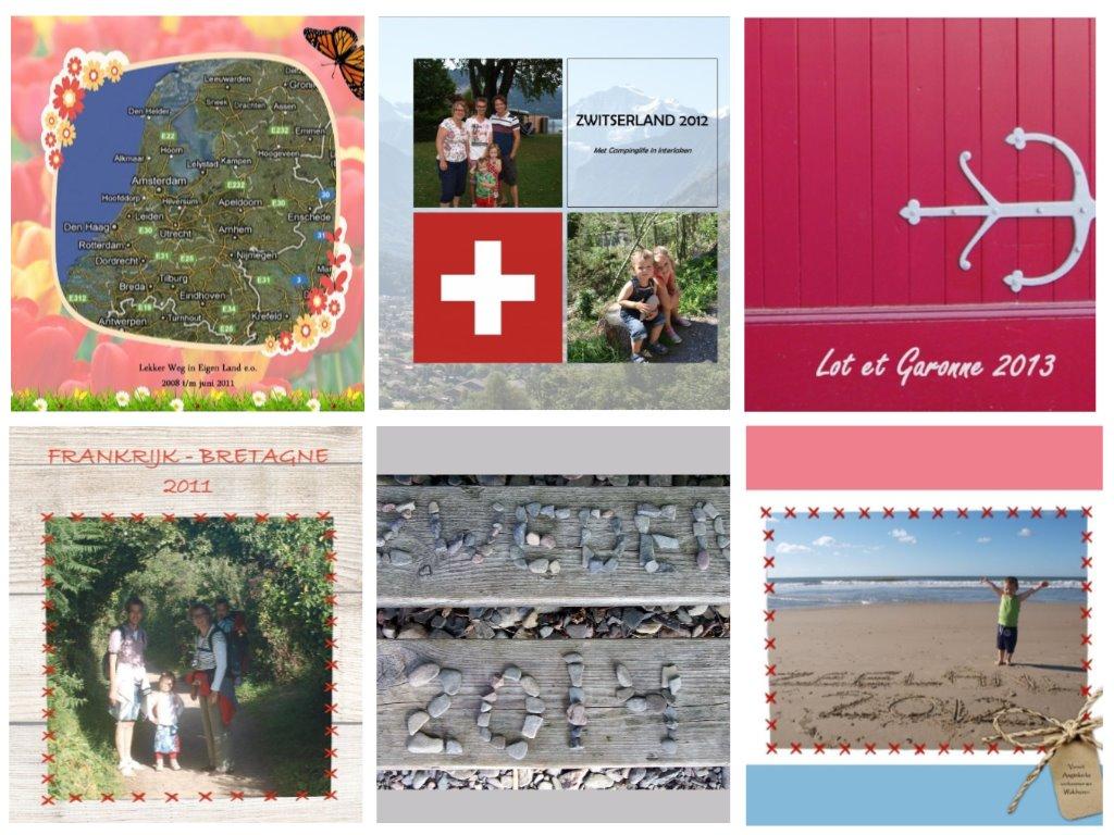 Zes hele verschillende voorkanten van een fotoboek. Over allemaal is tijdens de vakantie al nagedacht.