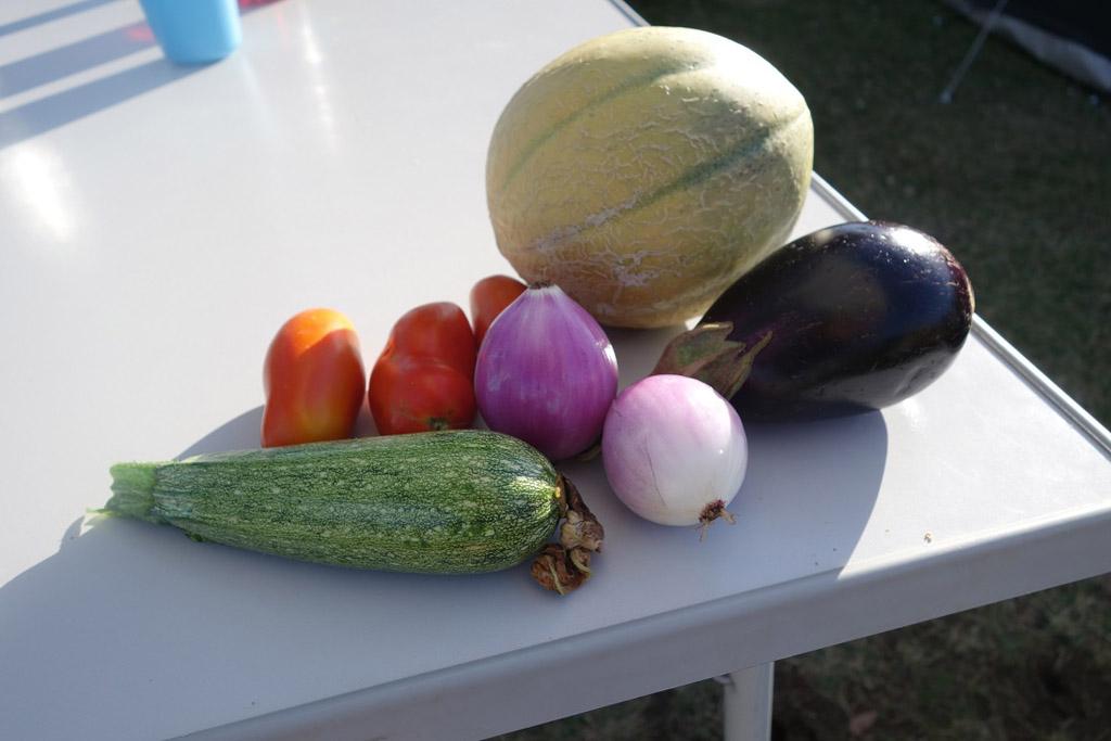 Verse groente uit de moestuin van de camping. Een lekker extraatje.