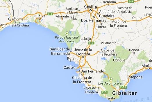 Costa de la Luz (bron: Google Maps)