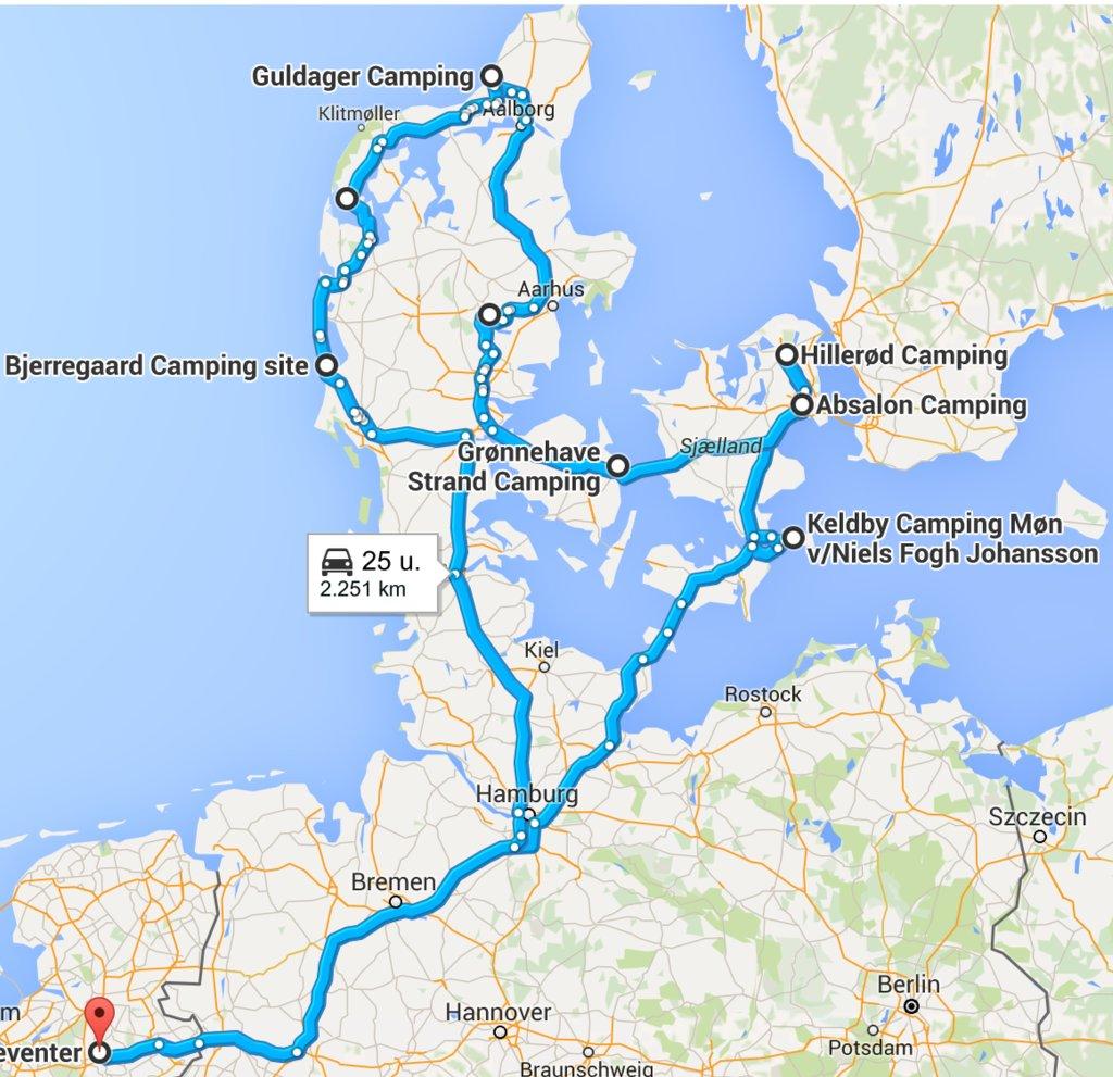 De route van onze rondreis door Denemarken.