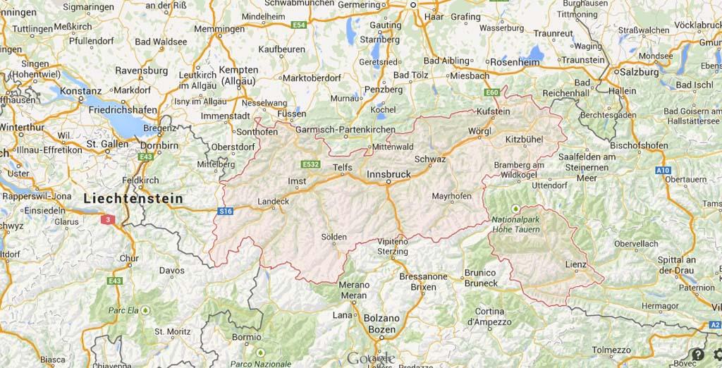 Het Oostenrijkse Tirol met kinderen (bron kaart: Google Maps).