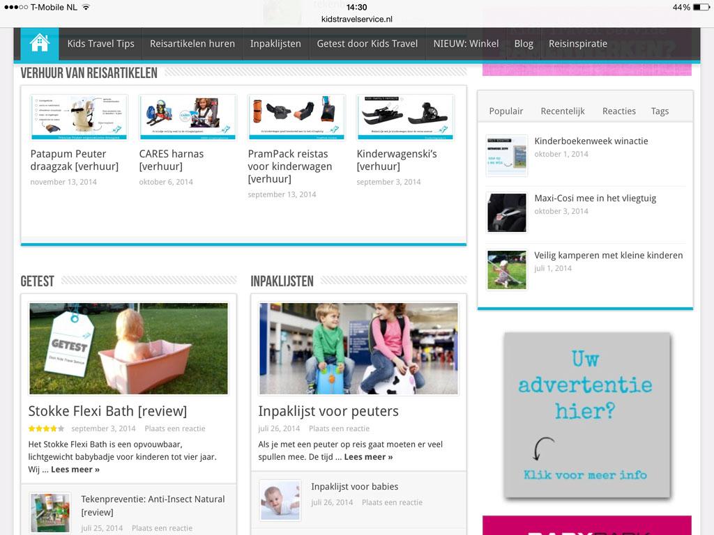 Een deel van de verhuurartikelen en een preview van de leuke blogs.