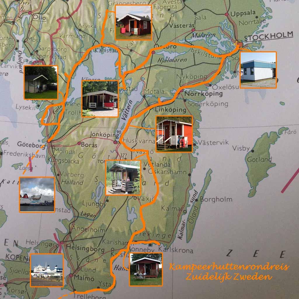 Onze route tijdens de rondreis Zuid-Zweden (bron basiskaart: Bosatlas).