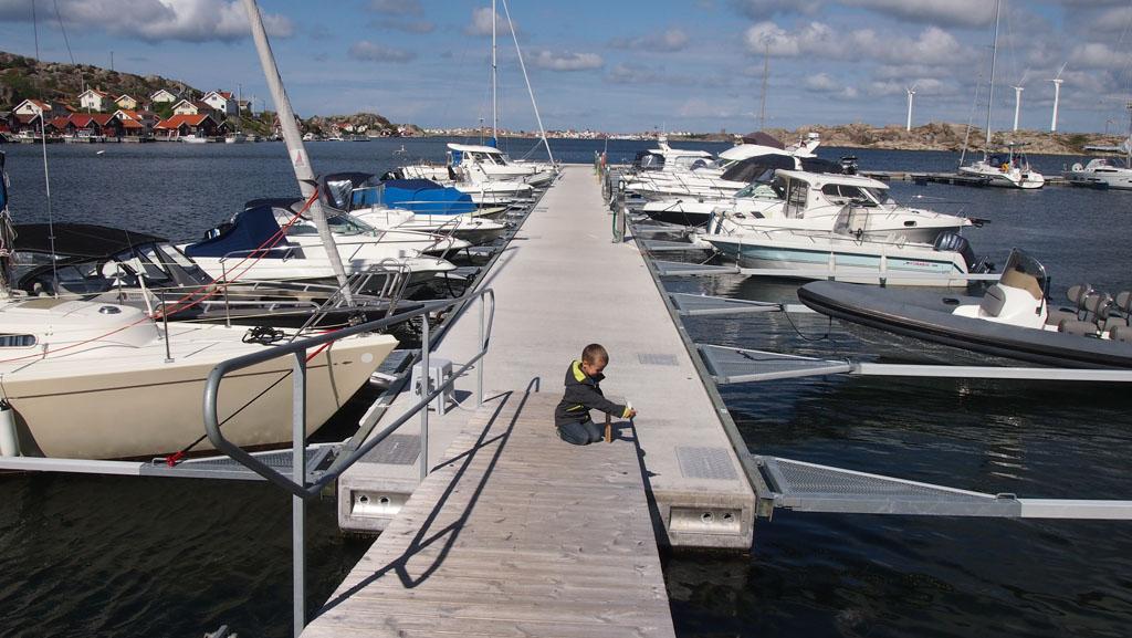 Niet alleen vissersboten, ook privéboten lagen in de haven.
