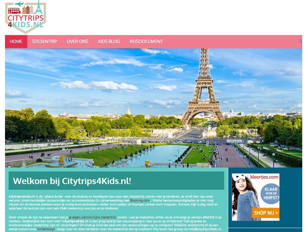 De homepage van Citytrips4Kids.nl