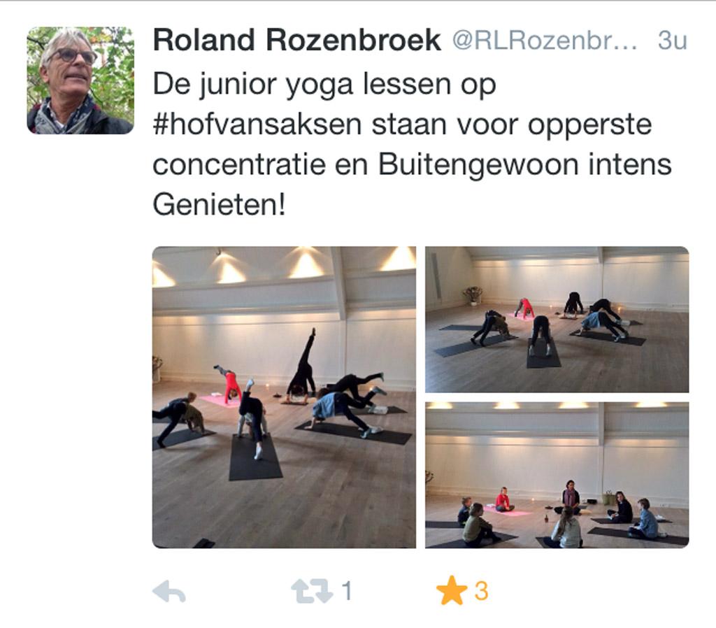 Zelfs tijdens een vakantie bij Hof van Saksen is het mogelijk om yoga lessen te volgen.