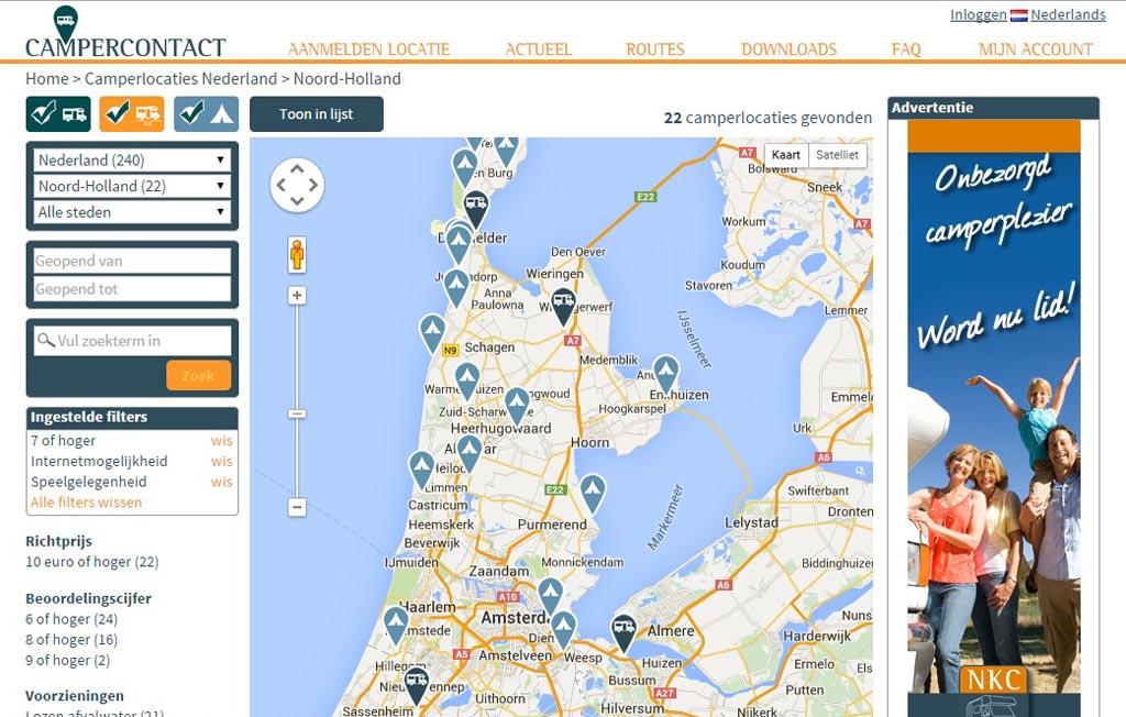 Potentiële camperplekken in Noord-Holland.