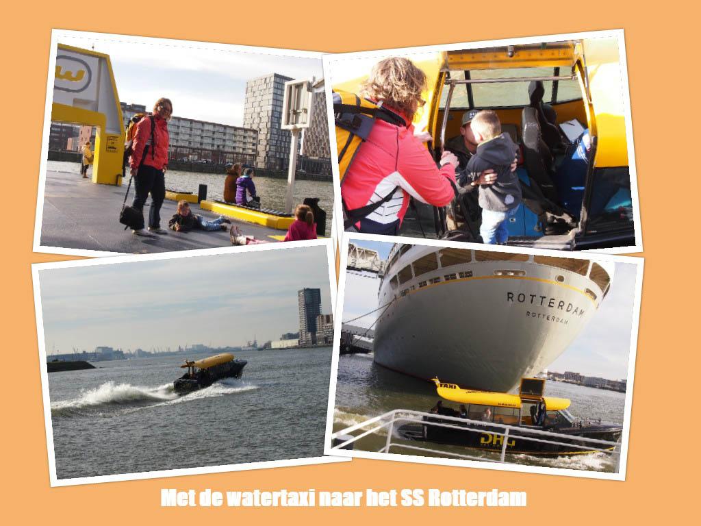 Met de stoere en snelle watertaxi naar het SS Rotterdam varen.