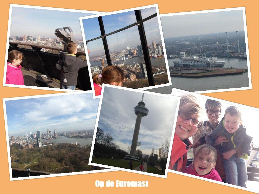 Genieten van het uitzicht over Rotterdam op de Euromast.