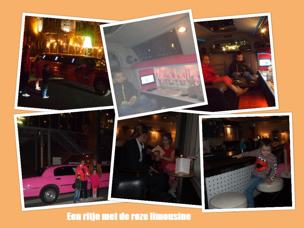 Met tante Paula achter het stuur van de roze limousine voelden we ons echte VIP's.