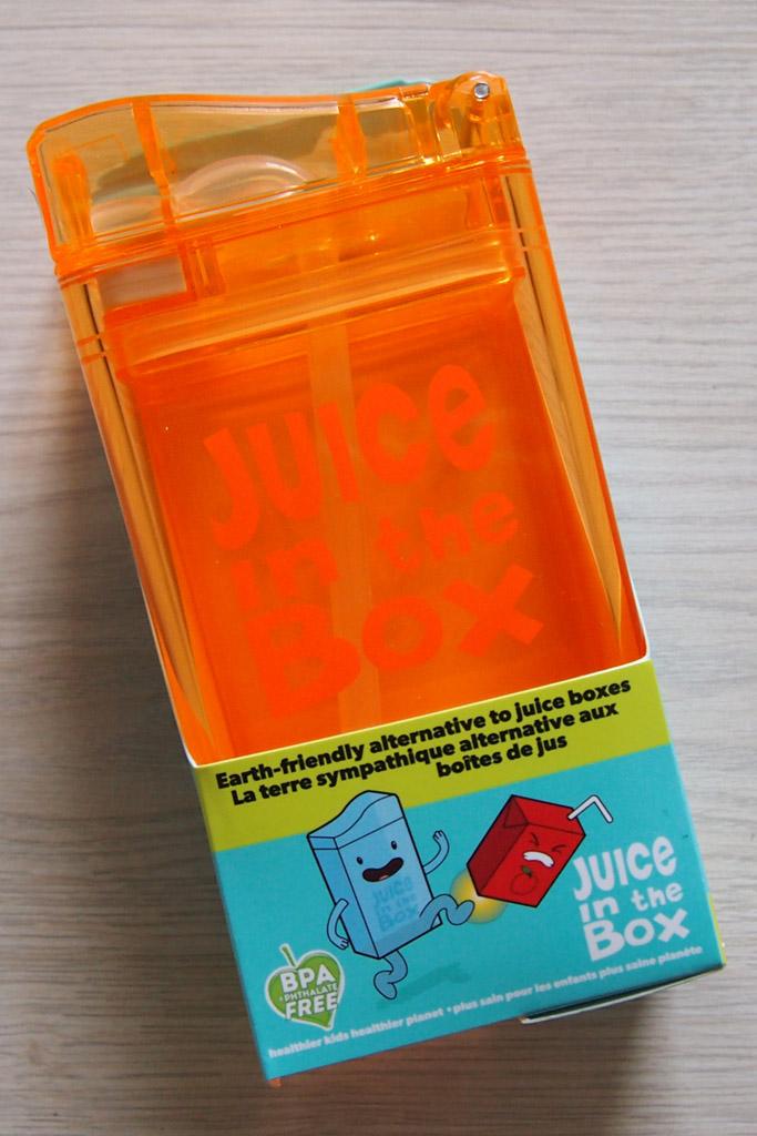 Juice in the box: een hervulbaar drinkpakje van kunststof.