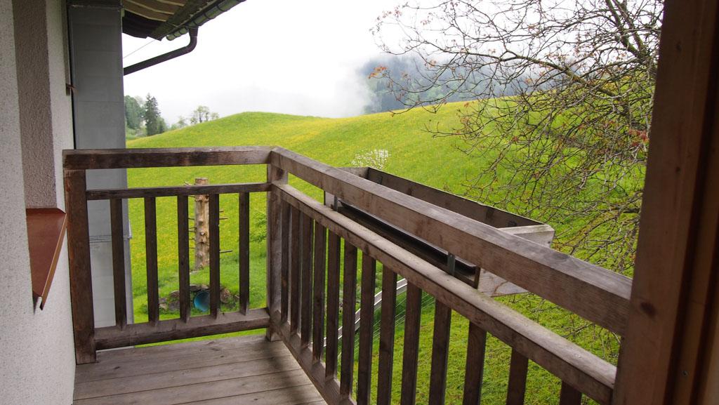 Vanaf het balkon hadden we zicht op een deel van de speeltuin en op de geitjes.
