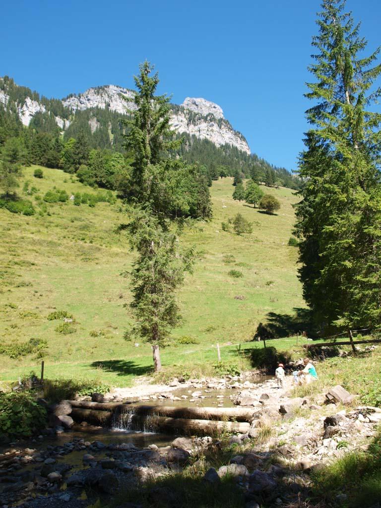Picknicken in de Zwitserse bergen nabij Interlaken.