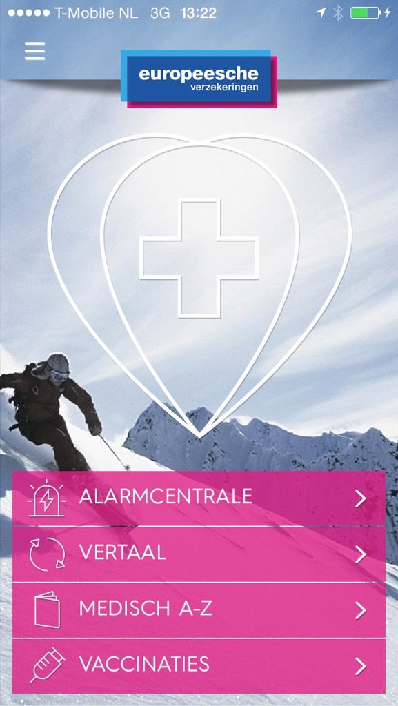 De ' Hulp in de zak'-app van Europeesche Verzekeringen.