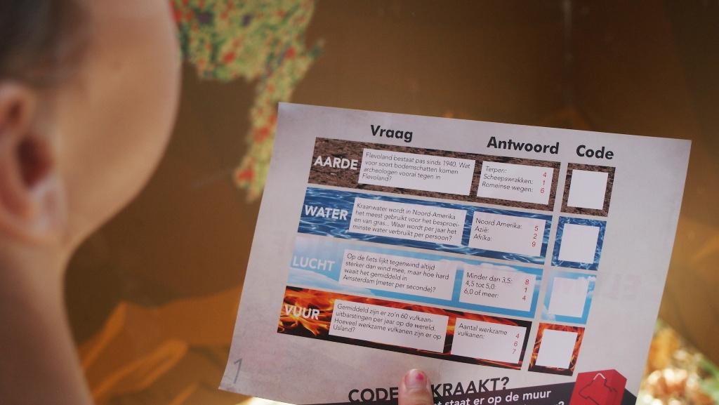 De opdrachtenkaart voor het elementendoolhof.
