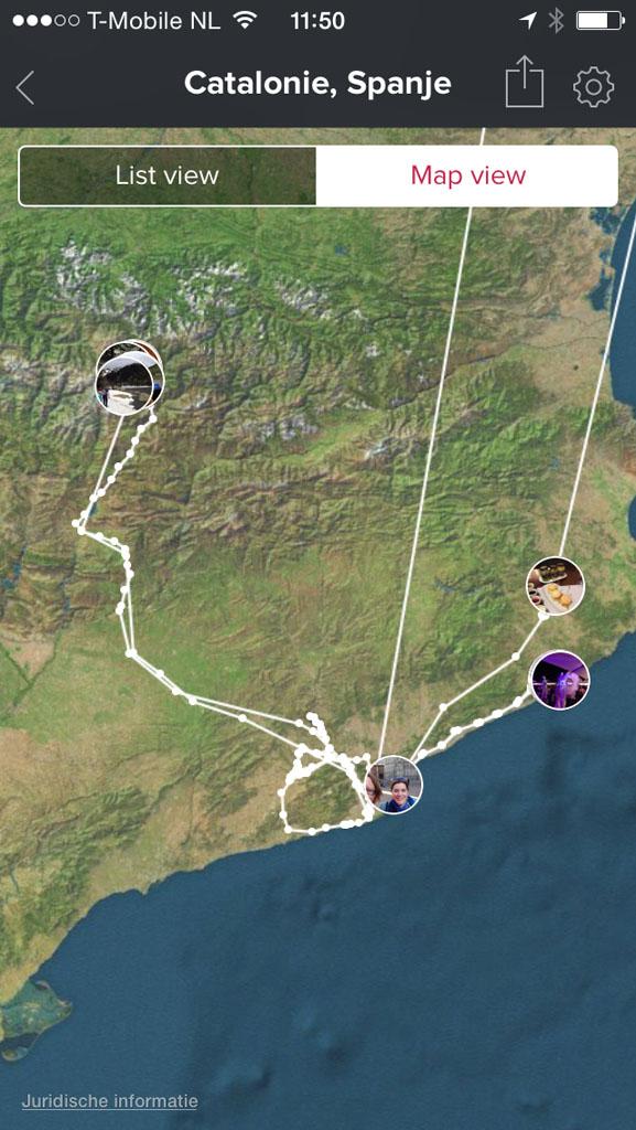 Je ziet ook je afgelegde reis op kaart en kan in- en uitzoomen.