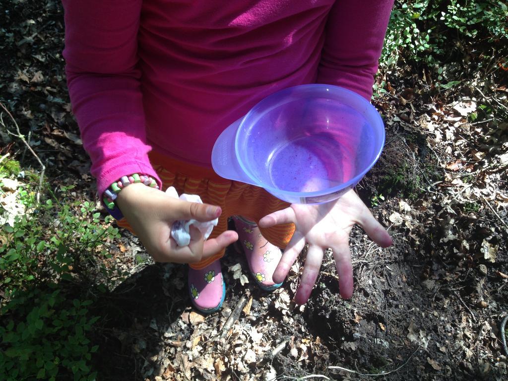 Bosbessen vlekken krijg je lastig uit kleding en je handen hebben ook water en zeep nodig om schoon te worden.