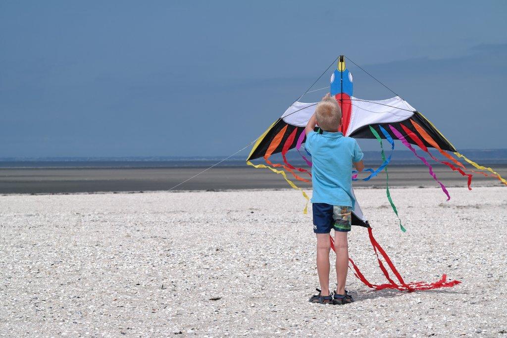 Vliegeren op het strand.