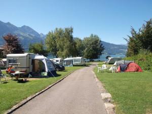 Ons kampeerplekje, op nog geen 100 meter van de Thunersee.