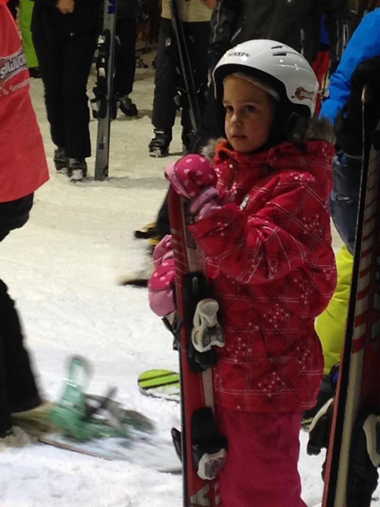 Luisteren naar de skijuf.