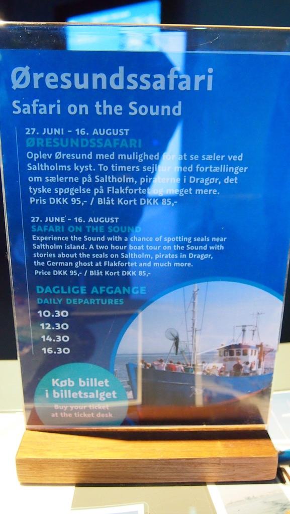 Drie keer per dag vertrekt er een boot voor de Oresund Safari vanaf Den Bla Planet.