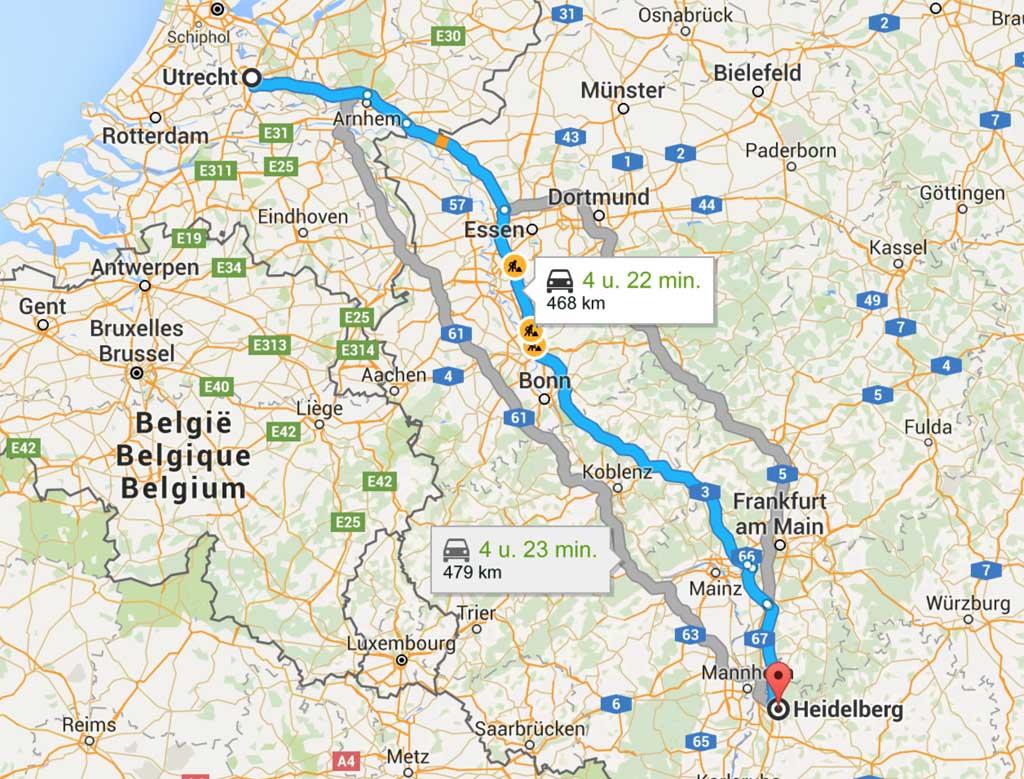 De route naar Heidelberg.