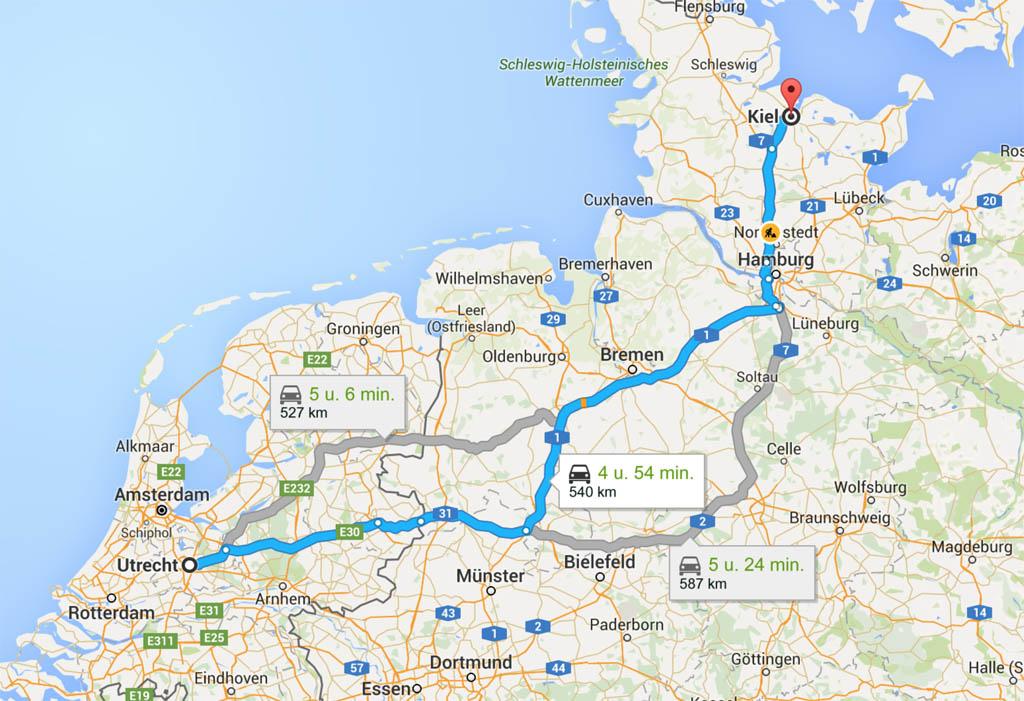 Deel 1 van de route: naar Kiel rijden.
