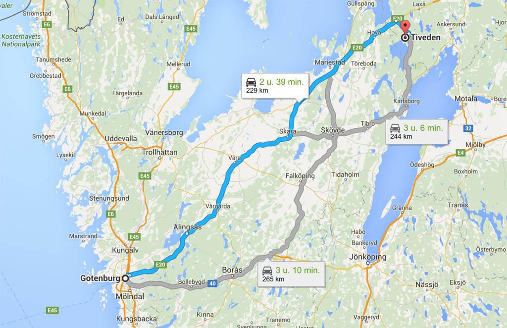 Van Göteborg naar Tiveden.