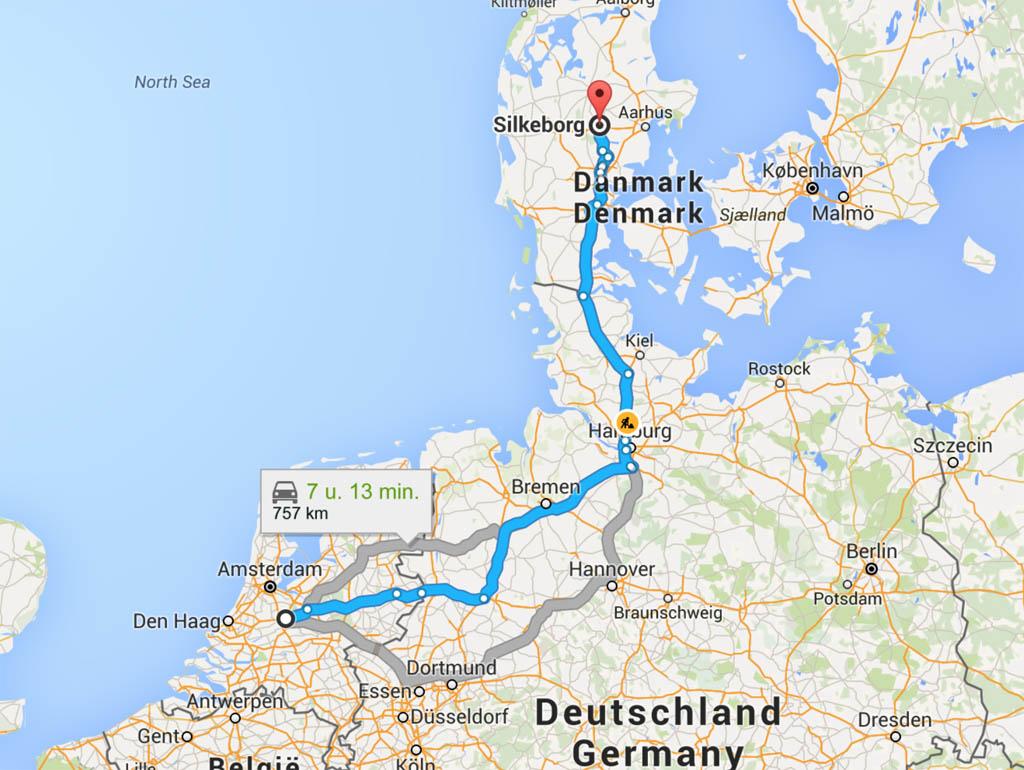 De route naar het Deense Silkeborg.