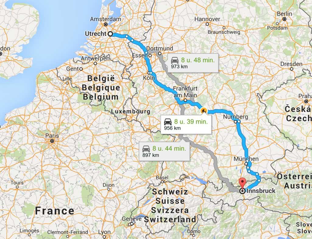 De route naar Tirol.
