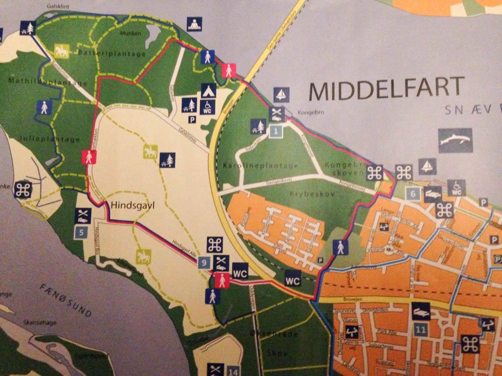 Kaart van het park in Middelfart.