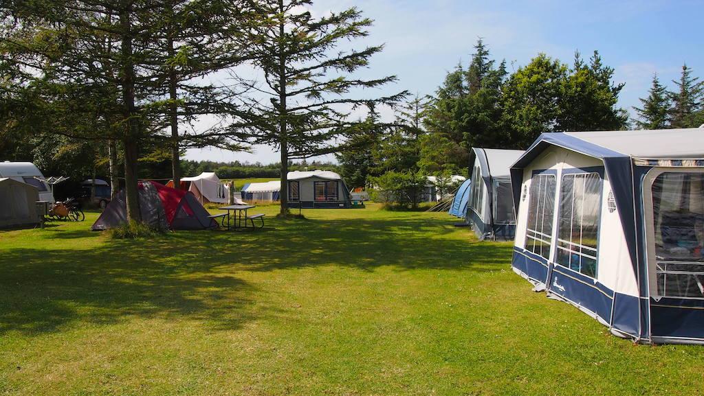 Er zijn kampeerplekken met schaduw en met zon.