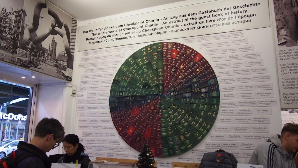 Entree van het Mauer Museum, met paspoorten van heel veel landen aan de muur.
