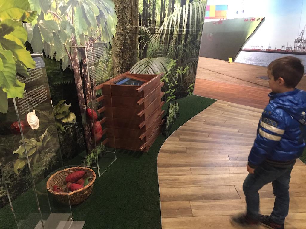 Een kleine tentoonstelling over cacao en chocolade.