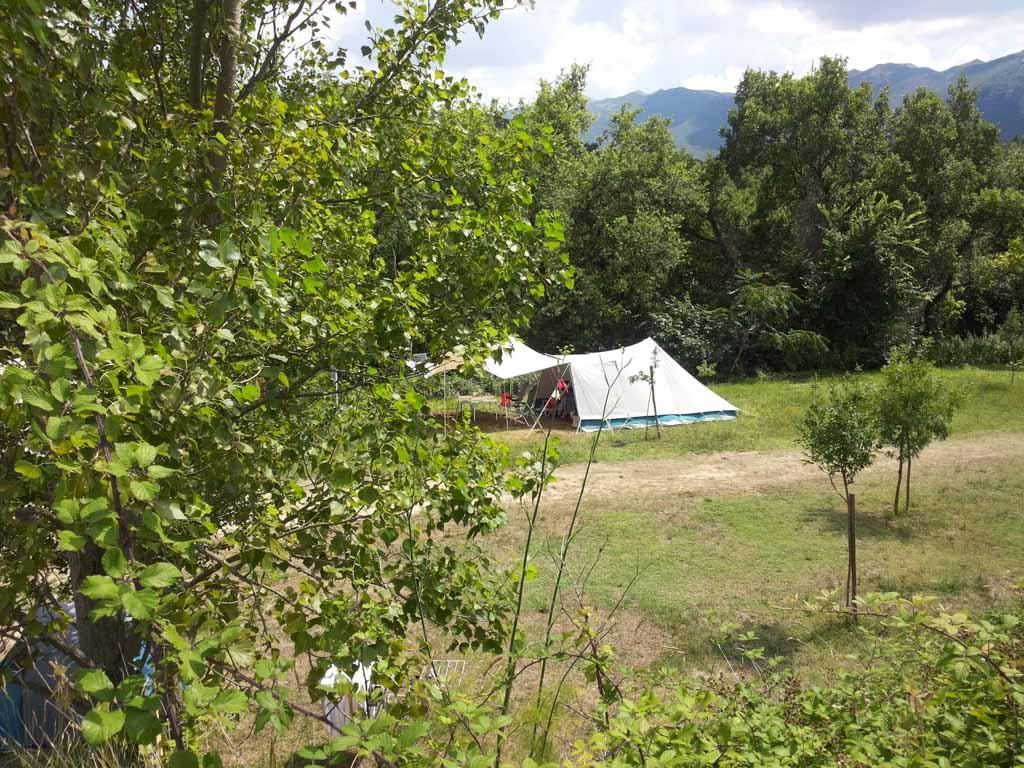 Onze tent op camping Faranghe.