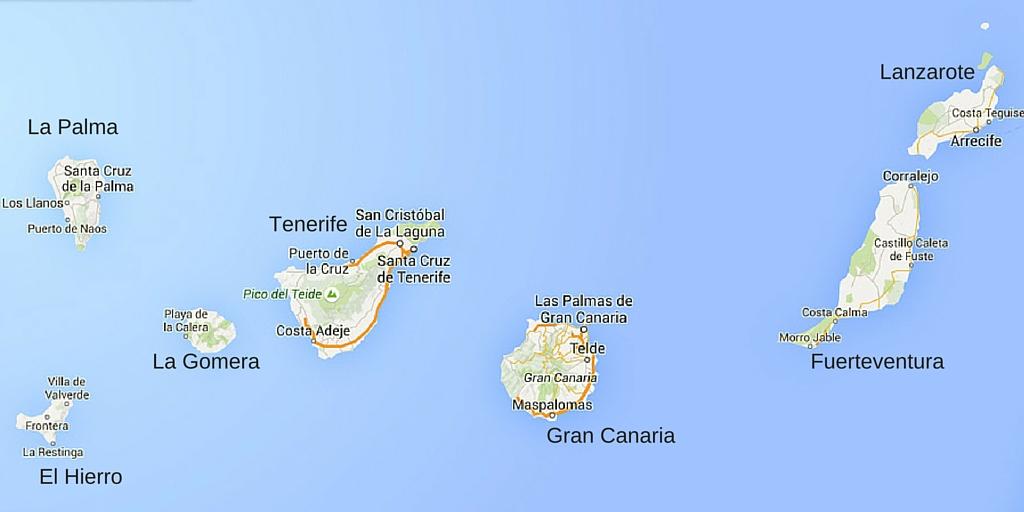 Overzicht van de Canarische Eilanden.