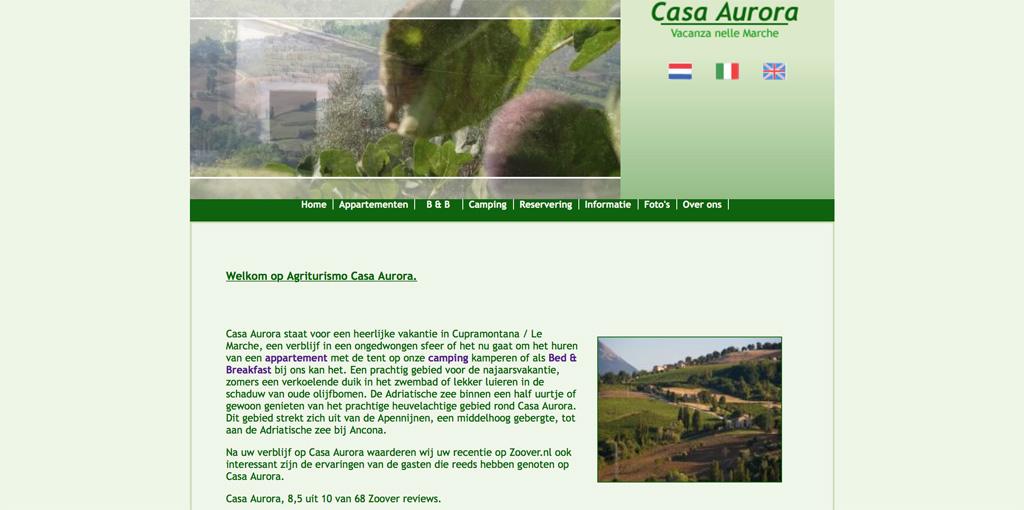 De homepage van Casa Aurora.