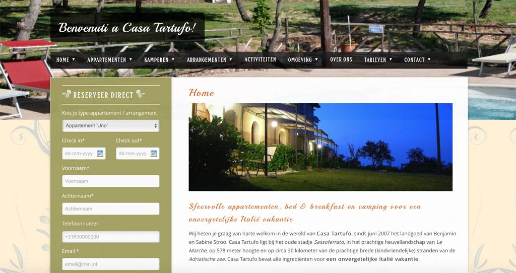 De homepage van Casa Tartufo.