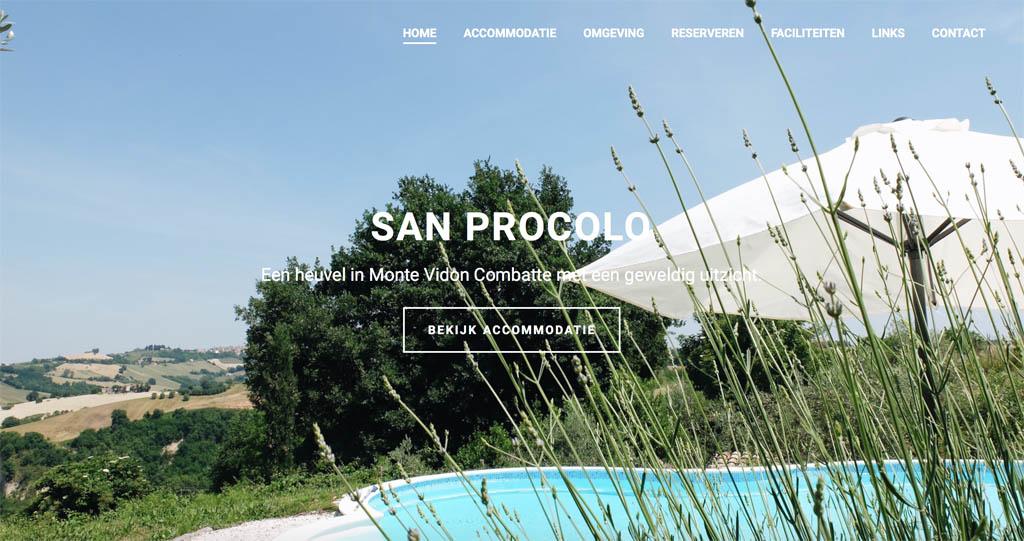 De homepage van San Procolo.
