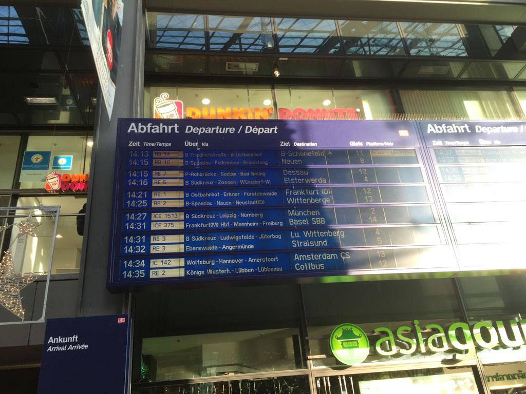 Voor de terugreis zijn we op tijd op Hauptbahnhof.